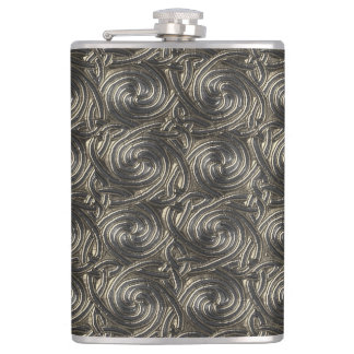 Ancient Silver Celtic Spiral Knots Pattern Hip Flask