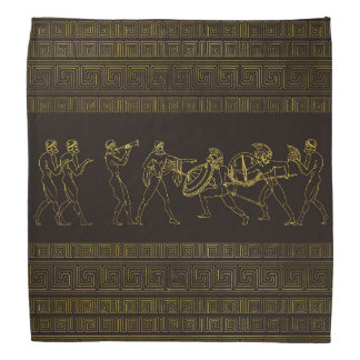 Ancient Sparta  Greece scene on greek pattern Bandana