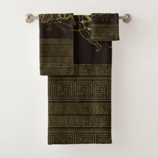 Ancient Sparta  Greece scene on greek pattern Bath Towel Set