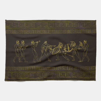 Ancient Sparta  Greece scene on greek pattern Kitchen Towel