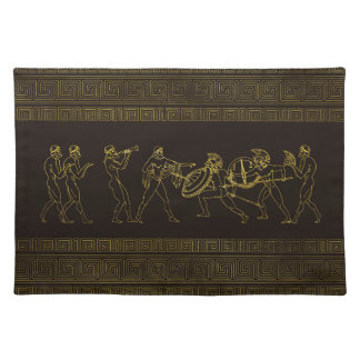 Ancient Sparta  Greece scene on greek pattern Placemat