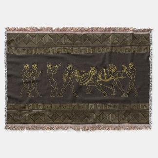 Ancient Sparta  Greece scene on greek pattern Throw Blanket