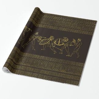 Ancient Sparta  Greece scene on greek pattern Wrapping Paper