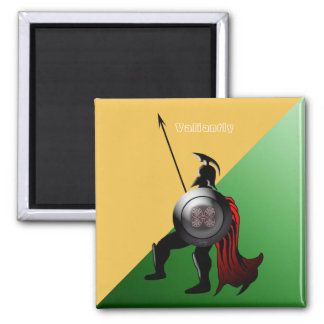 Ancient Spartan Warrior Green and Yellow Square Magnet