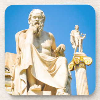Ancient statue of philosopher in Athens, Greece Coaster