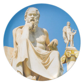 Ancient statue of philosopher in Athens, Greece Plate