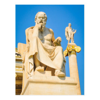 Ancient statue of philosopher in Athens, Greece Postcard