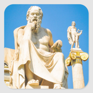 Ancient statue of philosopher in Athens, Greece Square Sticker