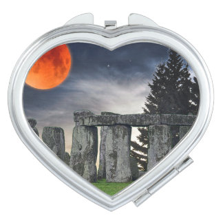 Ancient Stonehenge & Mystical Red Full Moon Travel Mirror