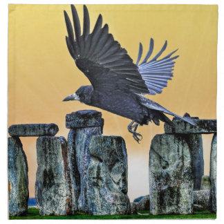 Ancient Stonehenge & Rook Corvid-lover's Gift Cloth Napkin