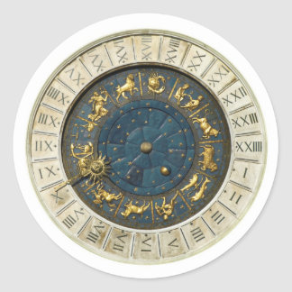 Ancient Venice clock Round Sticker