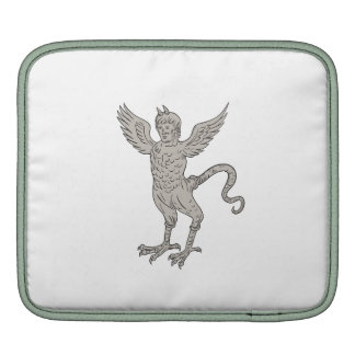 Ancient Winged Monster Drawing iPad Sleeves