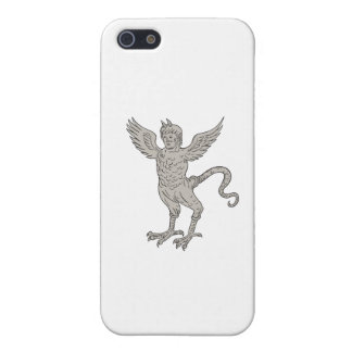 Ancient Winged Monster Drawing iPhone 5 Case