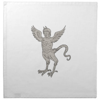 Ancient Winged Monster Drawing Napkin