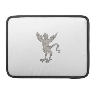Ancient Winged Monster Drawing Sleeve For MacBooks