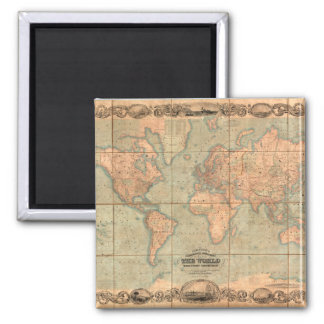 Ancient World Map 4 Square Magnet