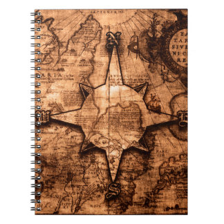 Ancient World Traveler - Map & Compass Rose Notebook
