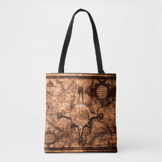 Ancient World Traveler - Map & Compass Rose Tote Bag