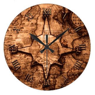 Ancient World Traveller - Map & Compass Rose Large Clock