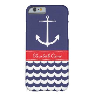 Ancre avec des vagues et nom fait sur commande en coque iPhone 6 barely there