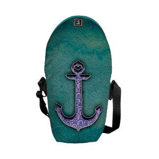 Ancre bleue et turquoise à la mode de coeur d'aqua besaces