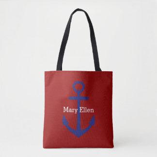 Ancre bleue nautique classique sur le rouge sac