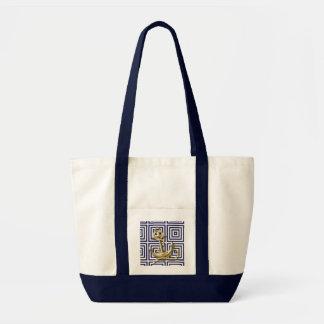 Ancre de motif de bleu marine nautique sac en toile impulse