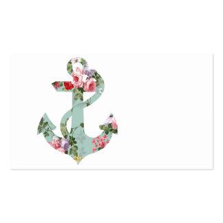 Ancre florale verte rose rouge vintage de motif cartes de visite professionnelles