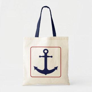 Ancre nautique - blanc et bleu rouges sac en toile budget