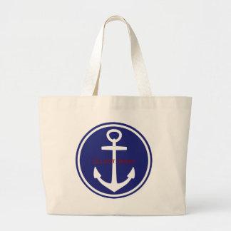 Ancre nautique bleue blanche rouge personnalisée grand sac