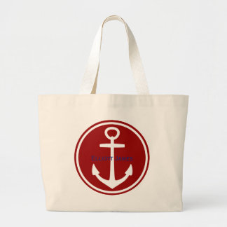 Ancre nautique bleue blanche rouge personnalisée sac en toile jumbo