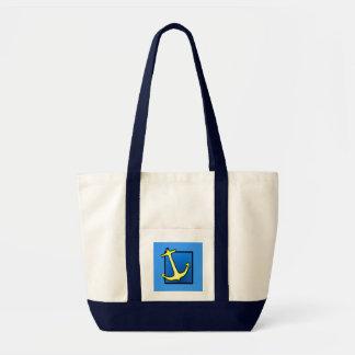 Ancre nautique de bateau bleue et jaune sac fourre-tout