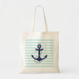 Ancre nautique de bleu marine d'Aqua et de rayures Sacs Fourre-tout