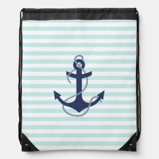 Ancre nautique de bleu marine d'Aqua et de rayures Sac À Dos