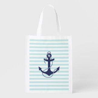 Ancre nautique de bleu marine d'Aqua et de rayures Sac Réutilisable D'épcierie