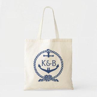 Ancre nautique de bleu marine et blanche 2 de sac en toile budget
