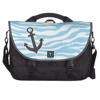 Ancre nautique ; Poster de animal de zèbre de bleu Sacs Pour Ordinateur Portable
