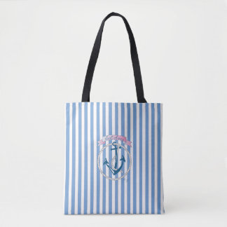 """Ancre nautique, """"voile loin"""", rayures bleues, cool sac"""