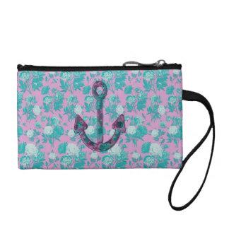 Ancre rose et bleue florale vintage portefeuille