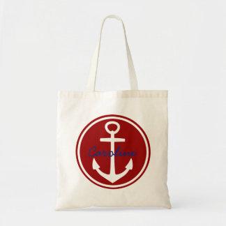Ancre rouge et blanche nautique avec le bleu sac en toile budget
