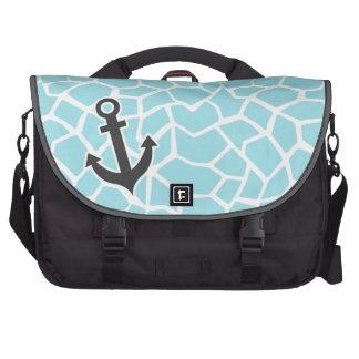 Ancre sur le poster de animal bleu de girafe de te sacoches pour ordinateur portable