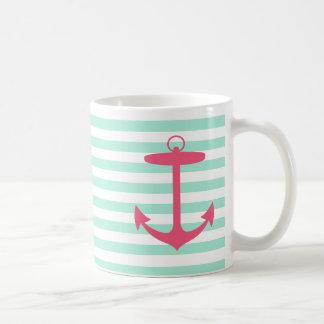 Ancre verte et rose de mousse de mer mug
