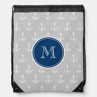 Ancres motif, monogramme de blanc gris de bleu mar sacs avec cordons