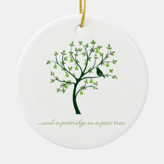 And a partridge in a pear tree ceramic ornament
