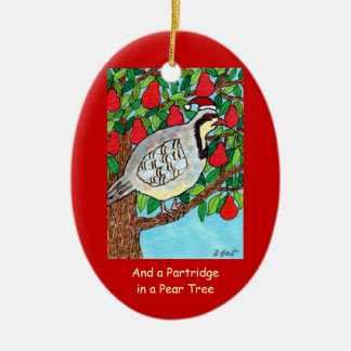 And a Partridge in a Pear Tree Ceramic Oval Ornament