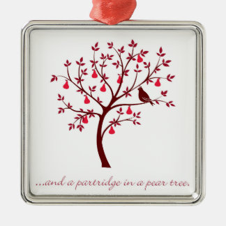 And a partridge in a pear tree metal ornament