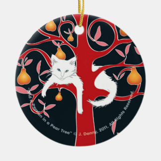 And a Persian in a Pear Tree... Ceramic Ornament