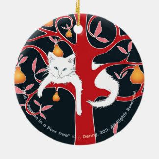 And a Persian in a Pear Tree... double sided Ceramic Ornament