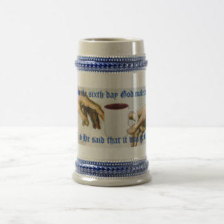 And on the sixth day God made coffee 18 Oz Beer Stein