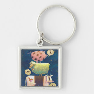 And On This Farm Silver-Colored Square Keychain